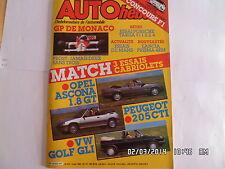 AUTO HEBDO N°522 14 MAI 1986 CABRIOLET OPEL ASCONA 1.8GT PEUGEOT 205 CTI  F42