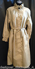 Contemporary Classics featherweight raincoat long ruffle belted coat trench sz 8
