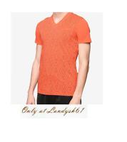 Armani Exchange Orange Logo Design Cotton V-Neck Men's T-Shirt Sz 2XL Slim Fit