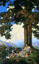 "MAXFIELD PARRISH, HILLTOP, Tree, Vintage, 17""x10""Art Deco FASHION ILLUSTRATION"