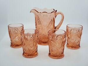VINTAGE light Pink Rose Inverted Thistle ~ PITCHER Set with 4 GLASSES