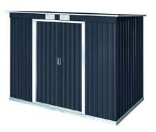 New Duramax 50651 8x4 Metal Pent Roof Storage Shed Dary Gray with Off-White Trim