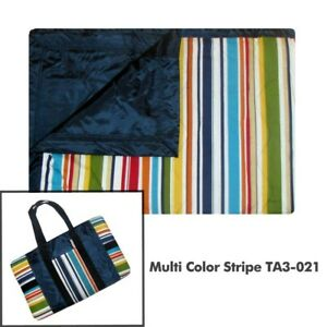 Picnic Blanket  Rug Water Resistant Multi-Colour Stripe TUFFO