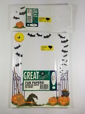 "Vintage 1997 Great Papers ""Goulish Gates"" Halloween/Black Cat Paper & Envelopes"