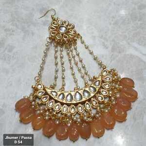 Kundan Yellow jewelry Tikka Set Hight Quality Tika adjustable indian jhumar pasa