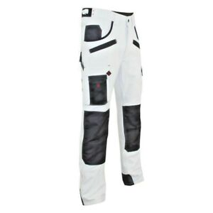 White Painters Work Trousers Mens Lightweight Durable Industrial kneePad Pockets