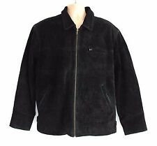 Black 100% Real Leather TOM TAILOR Zip Hip Length Men's Coat Jacket Size L