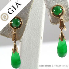 GIA IMPERIAL JADE GRADE A GREEN JADEITE 14K YELLOW GOLD SCREW BACK DROP EARRINGS