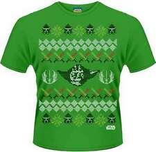 Star Wars Yoda Fair Isle Pattern officiel Homme Nouveau Vert T shirt XL