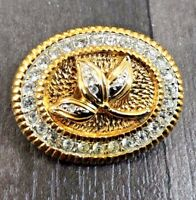 VINTAGE STATEMENT LEAVES FACETED RHINESTONE STONE GOLD TONE PIN BROOCH BADGE