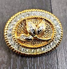 Gold Tone Pin Brooch Badge Vintage Statement Leaves Faceted Rhinestone Stone