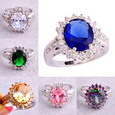 Unsix Luxury Party Oval Cut Multi-Colour Gemstones Silver Ring Size L N P R T