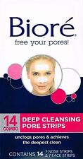 ==> BIORE 14 combo DEEP CLEANSING PORE STRIPS, 7 NOSE + 7 FACE STRIPS
