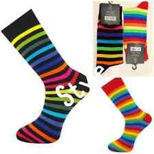 Rainbow Stripey Striped Multi Colour Men Socks Rich Cotton Casual Soft 2 To 12