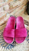 Womens Stuart Weitzman Sandals Pink US 8.5 Slide Open Toe Slip On NWOB Suede