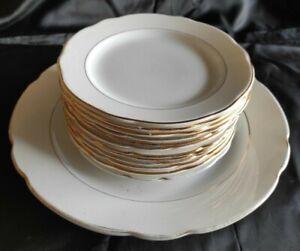 Servizio antico 12 piatti frutta + vassoio  porcellana  filo oro s.c.i Laveno