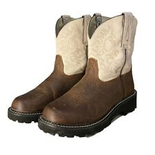 Ariat Fat Baby Boots Leather Cream Brown 7B Embroider Western Cowgirl Pull On