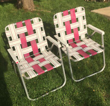 New listing Vintage Aluminum Folding Webbed Lawn Chair Pink/White