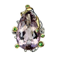 Handmade Bi-Color Ametrine 26.89ct Tsavorite Garnet 925 Sterling Silver Ring 8