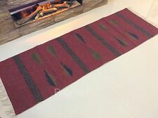 Ethnic Dark Red Tribal Natural Cotton Washable Reversible Runner Rugs 70x200cm