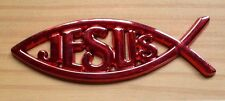 Jesus Fisch 3D-Sticker Rot-Metallic Optik Car-Styling Eyecatcher