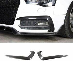 Carbon Fiber Front Bumper Upper Fog Canard Splitters Fins For Audi A5 Sline S5