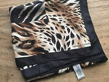 "ADRIENNE LANDAU STUDIO SILK 34"" SQUARE SCARF ANIMAL PRINT BROWN BLACK  GOLD"