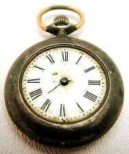 Antique Unmarked Small Pocket Watch Stripped Movement & Warranted Sterling Case