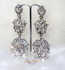 Beautiful Shape Silver Crystal Evening Cocktail Earring Jewellery Great as gift
