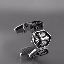 silver cross ear cuff clip on unisex 316l stainless steel single earring