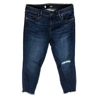 Kut From The Kloth Donna Crop Skinny Denim Jeans Distressed Raw Hem Sz 8 UUU4