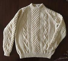 Aran Islands Carraig Donn Men's Fisherman's Hand Knit Sweater Ivory XL New W/Tag
