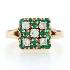Yellow Gold Diamond & Emerald Cluster Halo Ring - 14k Round Brilliant 1.13ctw