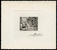 Laos 1956 Buddha Monastery 49 Artist Die Proof in black signed Pheulpin /89