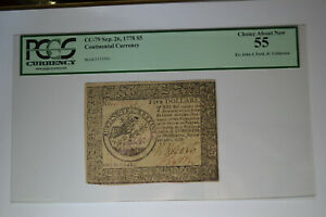 Continental Currency September 26, 1778 $5 PCGS Choice About New 55.