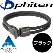 Phiten RAKUWA Bracelet X100 Leather-Textured Model Black 17cm Free Shipping