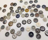 Lot 60+ Vintage Buttons, Mostly Metal, Some Plastic, Silvertone/Gray, Big Yank