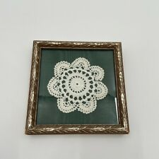 Crochet Doily On Green Satin Fabric Distress Gold Framed Wall Hangin Decor Boho