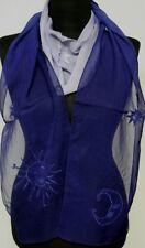 GOTHIC Astro Bufanda Pañuelo Estola Sol Luna Estrellas Azul Bordado Transparente