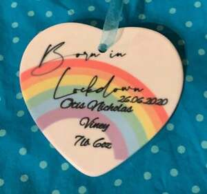 Personalised New Baby Born in lockdown Heart Decoration, Baby Christmas Dec