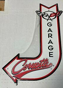 """Chevy Corvette Garage ~ 18"""" x 12""""  Metal J-Bent Arrow Sign, Man cave Embossed"""