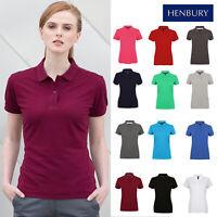Henbury Women's Micro-fine Pique Polo Shirt H102 - Ladies Short Sleeve Plain Tee