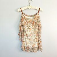 BAILEY 44 Womens TALK TO ME Floral Print Silk Blouse Lined Braided Straps XS