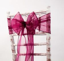 ORGANZA CHAIR SASHES-WEDDING DECOR EVENTS-MATCHING RUNNERS +80 COLOURS AVAILABLE
