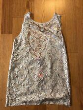 River Island Xs 6 Top Shirt Blouse Tank Lace Silver White Crochet Flower Floral