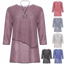 Ladies 3/4 Sleeve Cotton Linen Crew Round Neck Womens Top Blouse Size 10-18
