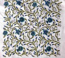 Indian New 100% Pure Cotton Hand Block 5 Yard Floral Printed Sari Craft Fabric