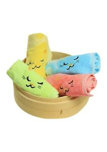 Non-twisted bamboo fibre cat & musical notes overlocked face washer bath towel