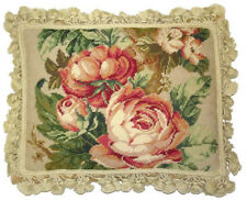 """14"""" x 18"""" Handmade Wool Needlepoint Pink Cabbage Roses and Green Leaves Pillow"""