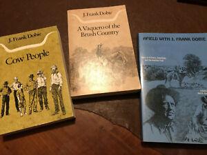 3 BKS, PB, COW PEOPLE & VAQUERO OF BRUSH COUNTRY BY DOBIE/AFIELD W/J.FRANK DOBIE